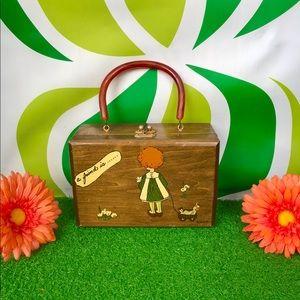 Vintage 50s 60s wooden box purse retro handbag mcm